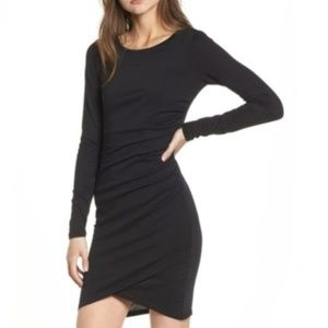 LEITH Black Ruched Long Sleeve Dress Bodycon